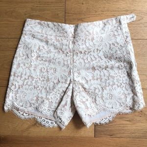 Cream Anthropologie Cartonnier Lace Scallop Shorts